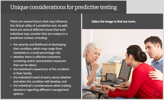 Example of part of the course. Shows text alongside an image of a medical consultation