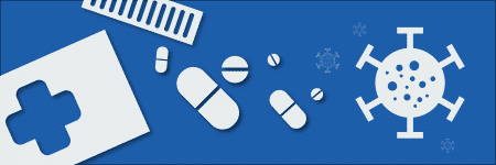 Bottle of pills and coronavirus icon