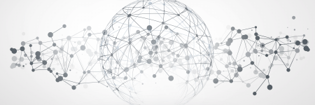 Globe built of and surrounded by network lines