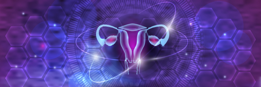 Stylised representation of ovaries with hexagonal pattern background