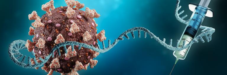 Render of coronavirus, mRNA and syringe