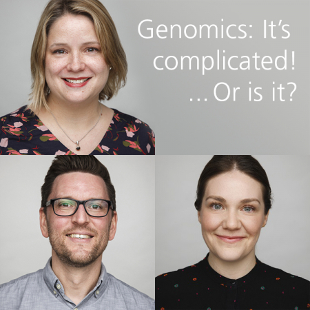 Pictures of Dr Michelle Bishop, Dr Ed Miller and Amelia McPherson from the GEP team