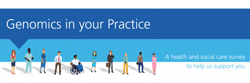 An illustrated group of health professionals in a line