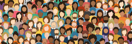 Crowd of people of different ethnicities, genders, backgrounds